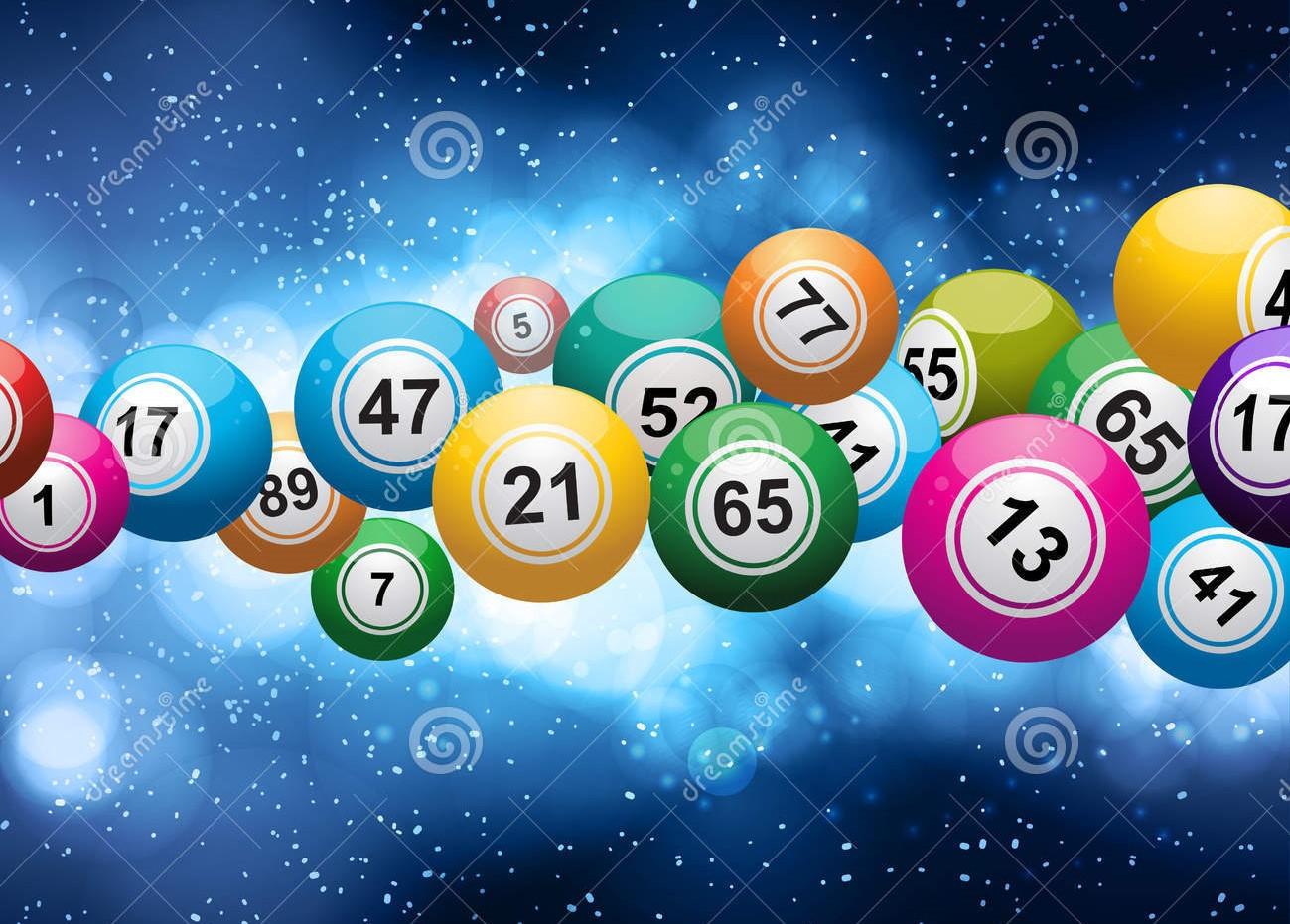 De Bal Van Bingo Die Op Een Gloeiende Blauwe Achtergrond Gebarsten 29868439